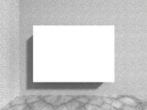 Blank white billboard banner on concrete stone wall. 3d render illustration Stock Images