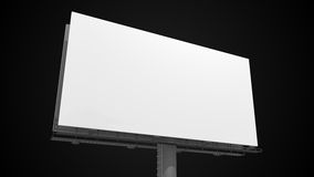Blank white billboard on black background. 3D rendered illustration Royalty Free Stock Photo