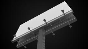 Blank white billboard on black background. 3D rendered illustration Stock Photo