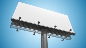 Blank white billboard on blue background. 3D rendered illustration Stock Photography