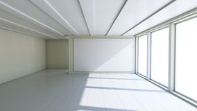 Blank white billboard in empty room. With big windows, mock up for your design. 3D illustration Royalty Free Stock Image