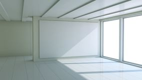 Blank white billboard in empty room. With big windows, mock up for your design. 3D illustration Stock Photo