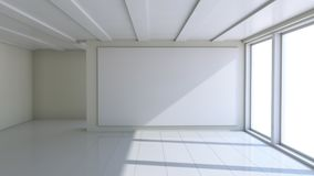 Blank white billboard in empty room. With big windows, mock up for your design. 3D illustration Royalty Free Stock Photography