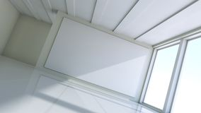 Blank white billboard in empty room. With big windows, mock up for your design. 3D illustration Stock Photos