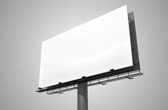 Blank white billboard on gray background. 3D rendered illustration Royalty Free Stock Photos