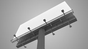 Blank white billboard on gray background. 3D rendered illustration Royalty Free Stock Photography