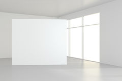 Free Blank White Billboard In Empty Room With Big Windows, Mock Up, 3D Rendering Royalty Free Stock Image - 93169166