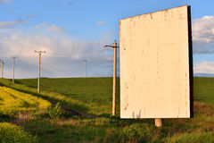 Blank white billboard in the middle of a field Royalty Free Stock Photo