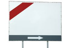 Blank white billboard red grey bar arrow isolated Royalty Free Stock Image