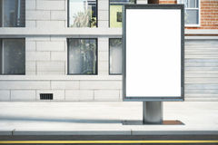 Blank white billboard on the street outdoor in the morning, mock Stock Image