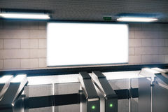 Blank white billboard in a subway Stock Photography