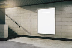 Blank white billboard in subway Royalty Free Stock Photography