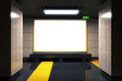 Blank white billboard in subway with yellow lines Royalty Free Stock Photography