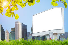 Blank white billboard on sunny city with building and blue sky. Stock Images
