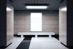 Blank white billboard in underground passage Stock Photos