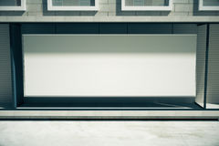 Blank white billboard in the window of the building, mock up, 3D Stock Photo