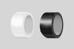 Blank white and black duct adhesive tape mockup, clipping path, Royalty Free Stock Photos