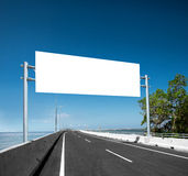 Blank White Blank board or billboard or roadsign in the street Stock Photo