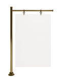 Blank white board for advertisement, isolated, 3d. Blank white board for advertisement, golden stand, isolated on white, 3d illustration Stock Photography