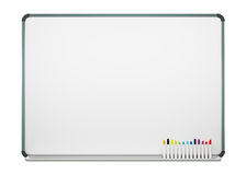 Blank White Board with Color Pens Isolated on White Backgroun White Background Stock Photos