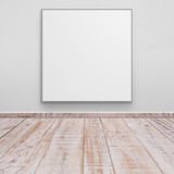 Blank white board  Concrete walls and wood floor for text and ba Royalty Free Stock Photo