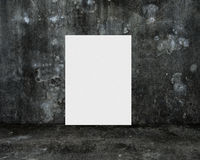 Blank white board with dark old mottled concrete room Royalty Free Stock Photography