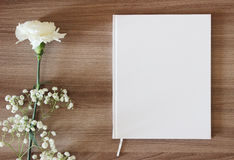 Blank white book, journal, wedding guestbook, notebook mockup.