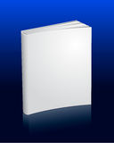 Blank white book with reflection. Isolated on deep blue background Royalty Free Stock Image