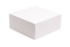 Blank White Box Isolated on White stock image