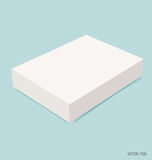 Blank white box mock up on blue background. Vector illustration. Stock Image