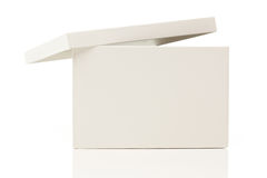 Blank White Box With Lid On White Royalty Free Stock Images