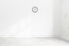Blank white brick wall interior with ligt shadow from windows for design,3D illustration and rendering room Stock Photography