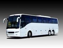 Blank white bus. A white tour bus isolated on a black and white gradient Stock Photos