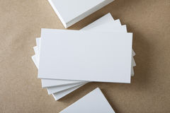 Blank white business cards on crafts background. Stack of blank white business cards on crafts background Royalty Free Stock Photos
