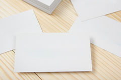 Blank white business cards on wood background Royalty Free Stock Photo