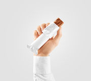 Blank white candy bar plastic wrap opened mockup hold hand Stock Photos