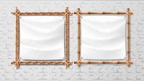 Blank White Canvas In Bamboo Frames Set Vector. Picture Or Photo Square Frames Isolated On Brick Wall Background. Design Exotic Decoration For Room Or Studio royalty free illustration