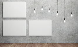 Blank white canvas with glowing light bulbs Royalty Free Stock Image