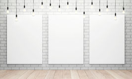 Blank white canvas with glowing light bulbs Royalty Free Stock Images