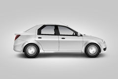 Blank white car design mockup, isolated, side view, clipping path, Stock Photo