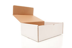 Blank White Carboard Box Opened Isolated Stock Images