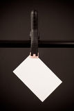 Blank White Card Hanging From Clip Royalty Free Stock Photos