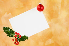 Blank white card with holly berries Royalty Free Stock Photo