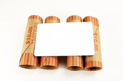 Blank White Card On Money Wrappers Stock Images