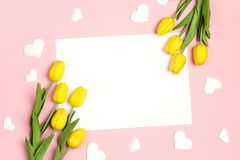Blank white card with tulips flowers and hearts on pink pastel background. Flat lay, top view, copy space royalty free stock photography