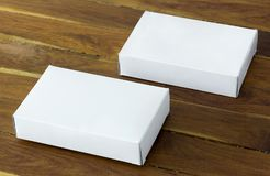 Blank white cardboard package box mockup Stock Image