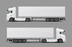 Cargo semi truck with trailer realistic vector. Blank white cargo truck with tented semi-trailer side view realistic vector template. Modern commercial transport Royalty Free Stock Images