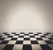 Blank White Checkered Floor and Old Wall Background Royalty Free Stock Photography