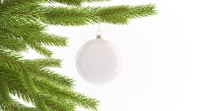 Blank white christmas ball hanging on pine mockup, isolated stock photo