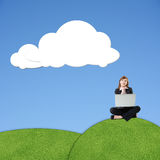 Blank white cloud. Asian business woman sit on grassland under blank white clouds, photo manipulation royalty free stock images
